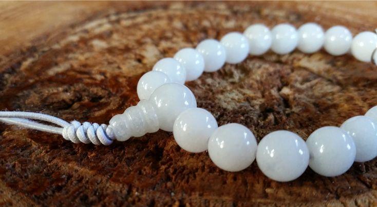 Jade Branco - Pedra Natural - Mala de Mão 21 Contas - Rosário Budista