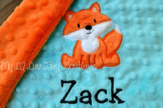 Fox baby blanket personalized small- topaz blue and orange fox- lovey blanket