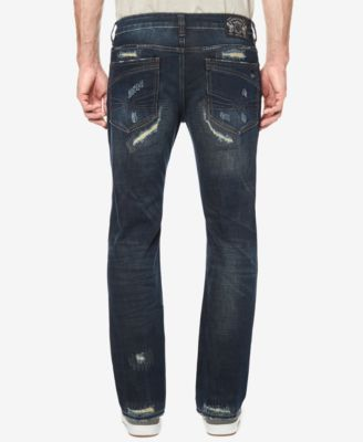 Buffalo David Bitton Men's Tinted Dark Blue Ripped Jeans - Blue 30x30