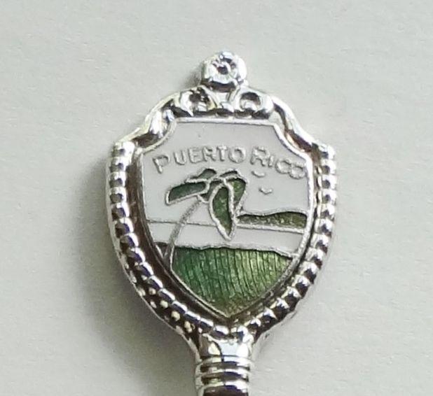 Collector Souvenir Spoon Puerto Rico Palm Tree Beach Cloisonne Emblem