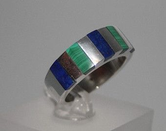 Blue and green like the sea. Ring Lapis/Malachite and Sterling silver - gift idea by gemorydesign. Explore more products on http://gemorydesign.etsy.com