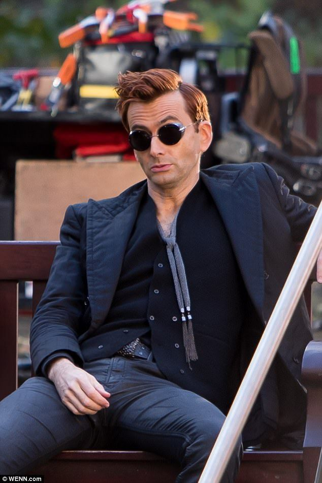 David Tennant is unrecognisable as he films Good Omens