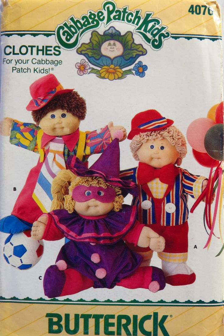 You don't see Cabbage Patch Kids licensed sewing patterns, much anymore, but did you know Cabbage Patch fashions and costumes also fit Build-A-Bear plush toys?!  These old patterns can still be found, if you know where to look!