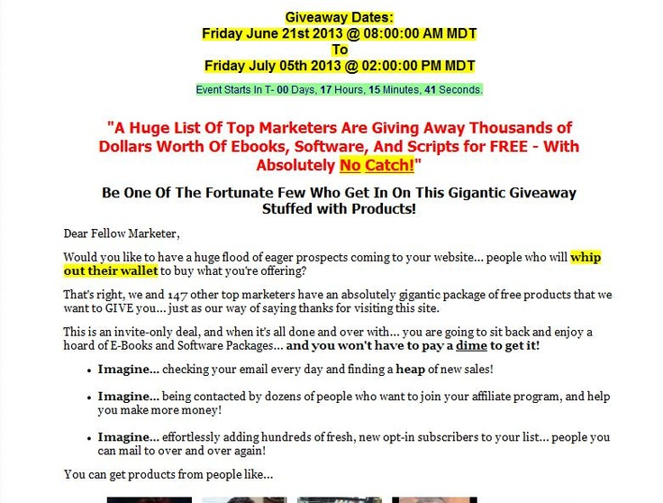 ==> http://imbasse.com/StarJV  A Huge List Of Top Marketers Are Giving Away Thousands of Dollars Worth Of Ebooks, Software, And Scripts for FREE - With Absolutely No Catch!    Be One Of The Fortunate Few Who Get In On This Gigantic Giveaway Stuffed with Products!  ==> http://imbasse.com/StarJV