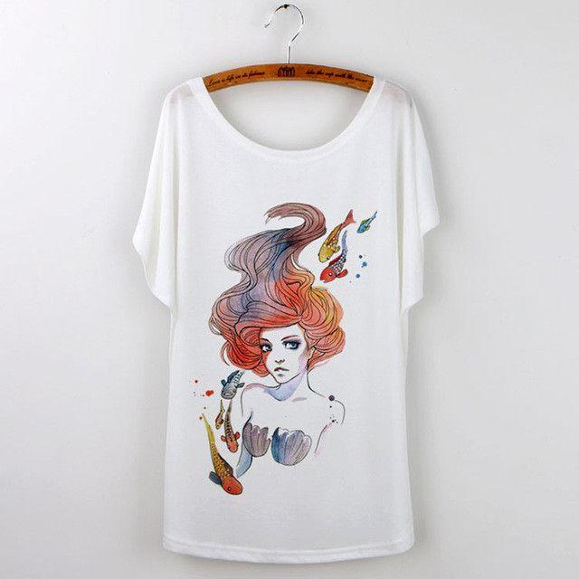 Cartoon Mermaid Print 2017 Casual Summer White T-Shirt Women Tops Camisetas Mujer T Shirt Harajuku Short Sleeve Tees Shirt Femme