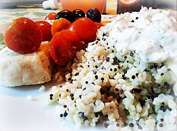 Quinoa with yogurt and garlic sauce, cod with greek olives and tomatoes - quinoa con salsa yogurt e aglio, e merluzzo con pomodorini caramellati