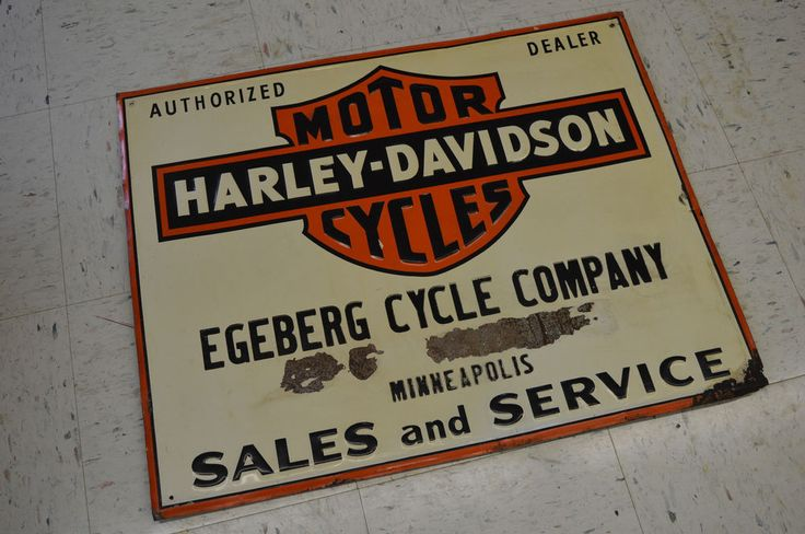 ANTIQUE MOTORCYCLE HARLEY DEALER STEEL SIGN ECEBERG CYCLE CO. 1930,S 1940,S MINN