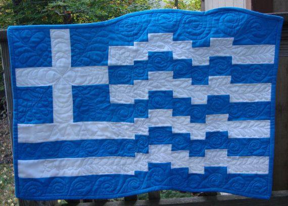 Custom Order for Dreamingtheworld Greek Flag by MaryMackMadeMine, $42.50