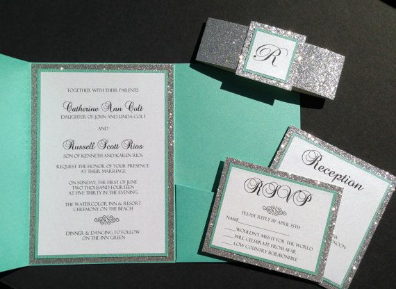 Tiffany Blue Glitter Pocketfold Wedding Invitations