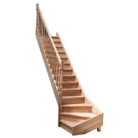 Escalier en hêtre quart tournant gauche avec balustre tournée