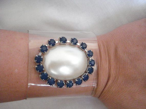 Transparent pearl cuff Rhinestone pearl bracelet by Poppyg on Etsy