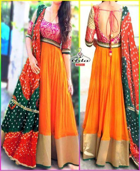 Orange /Pink Gown Dress