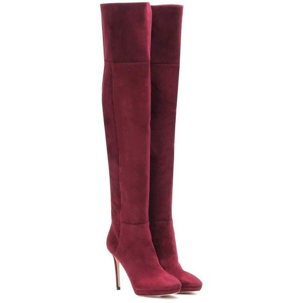 Jimmy Choo Hayley 100 Over-the-Knee Suede Boots ($1,235) ❤ liked on Polyvore featuring shoes, boots, botas, heels, red, over-knee boots, over the knee suede boots, above knee boots, over-the-knee suede boots and red boots