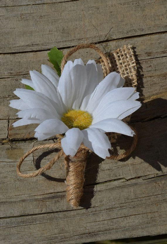 Daisy and Burlap Boutonniere Rustic Buttonhole by SplendidEvents