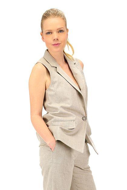 Michael Kors - Giacche - Abbigliamento - Gilet in lino con tasche laterali, chiusura con bottone singolo, Spacco sul retro.La nostra modella indossa la taglia /EU XS. - HEMP - € 184.43