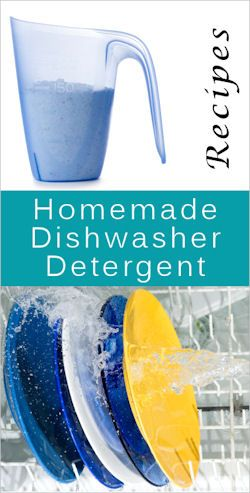 16 Homemade Dishwasher Detergent Recipes, with tips on what to do in various situations, like with hard water, getting a cloudy film, etc. via Tipnut.