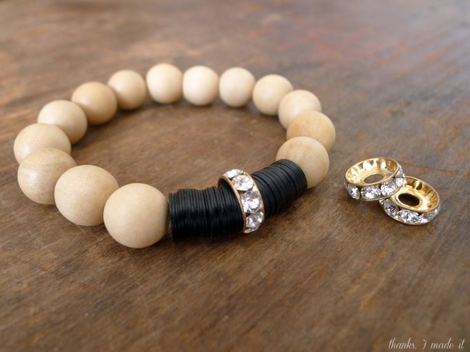 DIY Wood Bead and Swarovski Bracelet