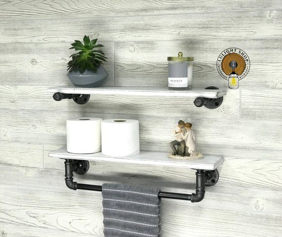 Whitewash 5 5 Deep Towel Bar With Shelf And Extra Floating Shelf Industrial Modern Rustic Towel Holder White Bathro Rustic Towels Floating Shelves Towel Bar