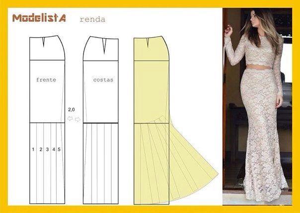 """Юбка """"рыбий хвост"""" mermaid skirt pattern diagram  i like that its lace"""