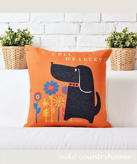 Call Me Lucky Doggy Throw Pillow Cushion Cover Helpful hints, Pillow covers and Make me smile
