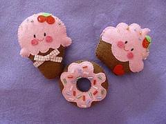 Ice cream cone, donut and cupcake felties