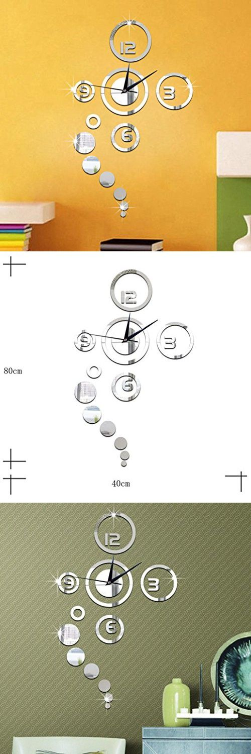 Hot Sale!Simple Circles Mirror Wall Clock Stickers,Canserin Luxury Modern Design Home Decor (Silver)