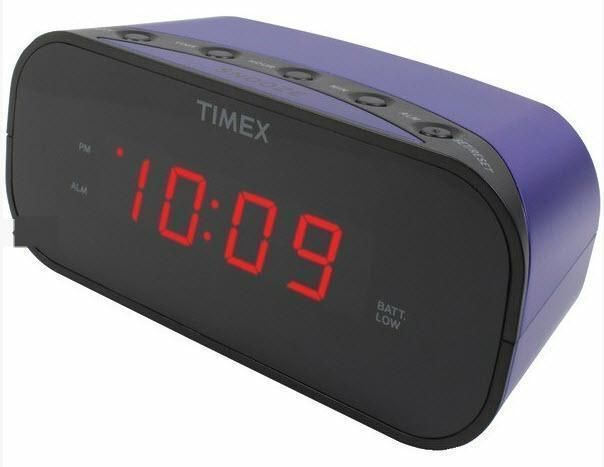 Timex Purple Electric Alarm Clock Battery Backup Soft or Loud Settings US Seller #Timex