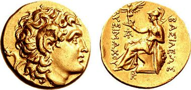 Gold stater of Lysimachus with bust of Alexander the Great