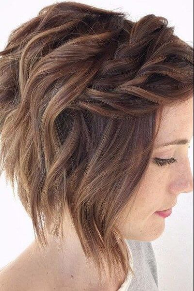 Short Inverted Bob with Braids for Wavy Hair