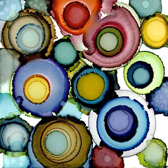 Algunos Suiboku círculos originales alcohol por lvhdesigns en Etsy