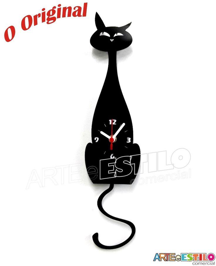 Relógio de parede em acrílico - Gato Preto com movimento de pêndulo da cauda  Balança continuamente a cauda  Gato -Comprimento Total (contando c/ a cauda) 42cm -Comprimento do Corpo do Gato 29cm -Largura 10cm  *imagem ilustrativa