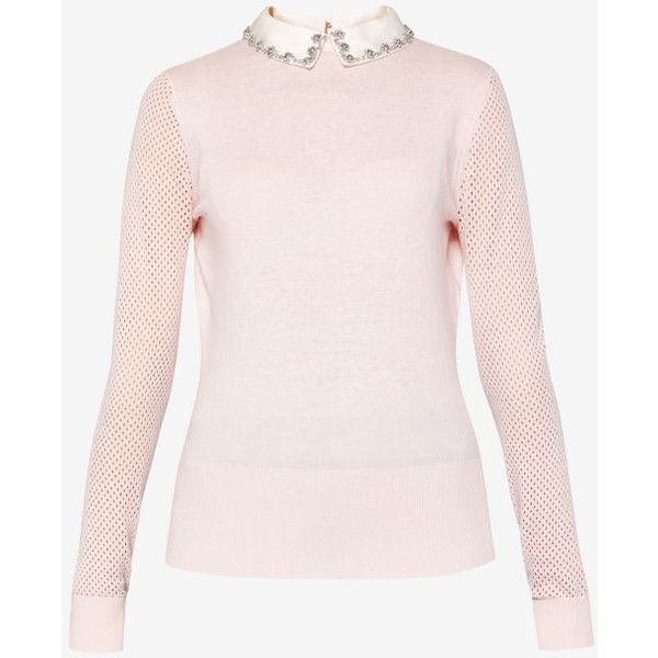 Embellished collar silk-blend jumper (1,050 CNY) ❤ liked on Polyvore featuring tops, sweaters, pink long sleeve top, pink embellished top, pink sweater, embellished sweaters and pink top