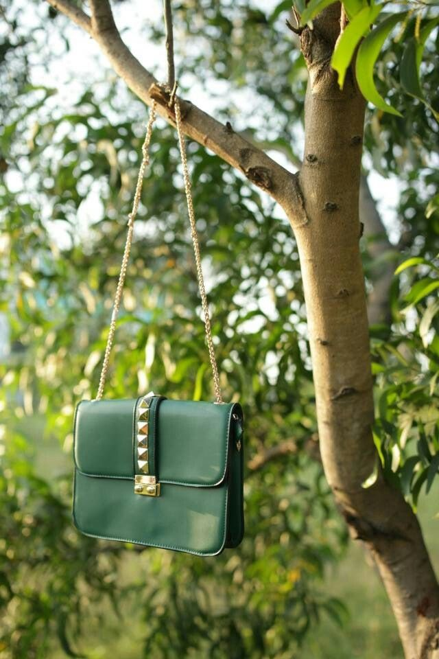 NEW ARRIVAL Marilyn studded sling bag- emerald green