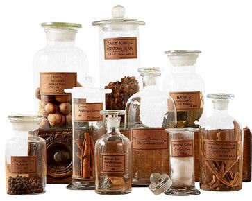 Botany Apothecary Jars, Set of 9 - traditional - Bathroom Canisters - Bliss Home & Design