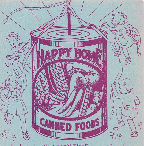 Happy Home - Canned Goods Advertisement with May 1937 Calendar from Seattle Grocery via Etsy
