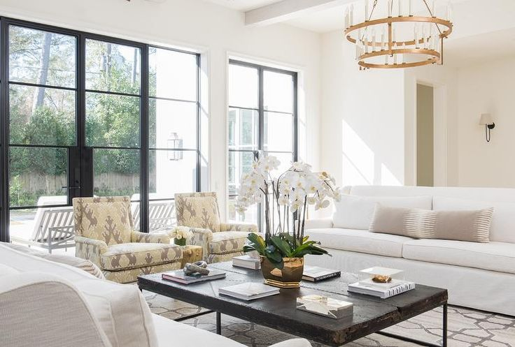 Gray And White Transitional Rustic Living Room With: White And Gray Living Room Features A Tiered Brass
