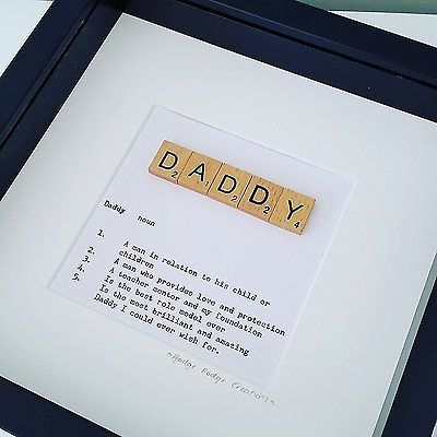 Wooden Scrabble Tile Framed DADDY/DAD Picture