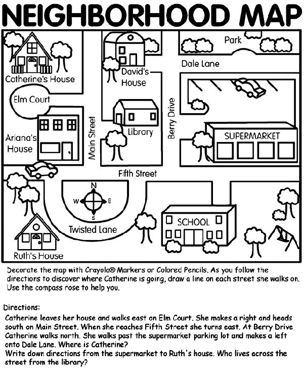 nice neighborhood map and directions from crayola social studies pinterest examples. Black Bedroom Furniture Sets. Home Design Ideas
