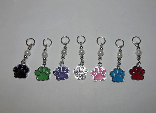 Set of 7 Paw print stitch markers by PawInspiredCreations on Etsy