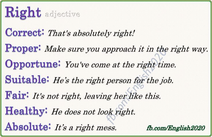 Vocabulary: Right - Adjective