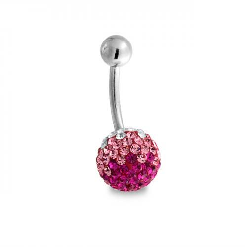 Ombre Pink Crystal Shamballa Inspired Ferido Ball Belly Ring Steel