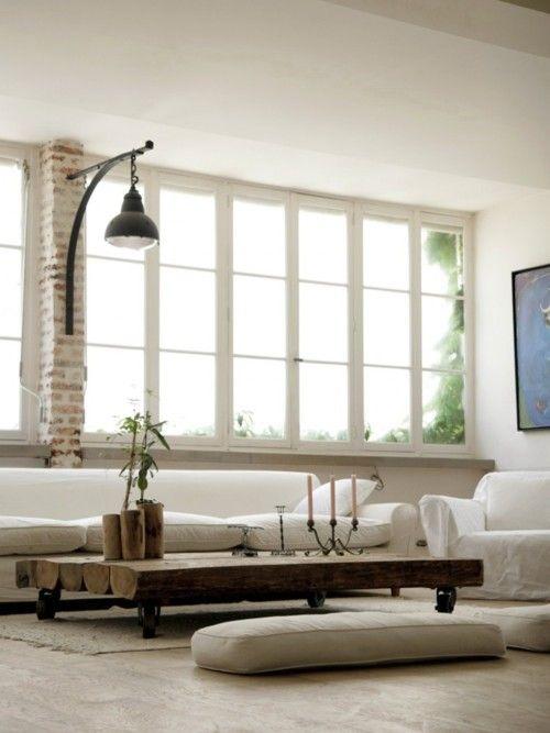 white nice wood log table #living room
