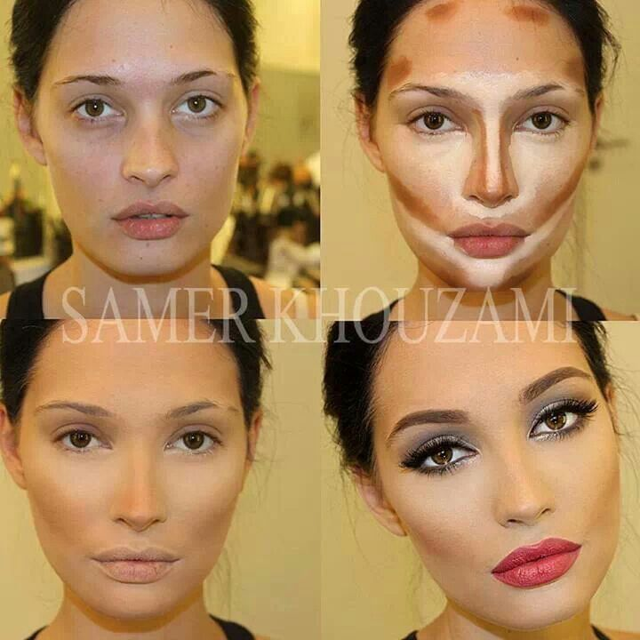 Contour & highlight foundation; before & after