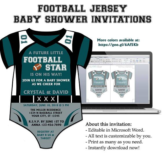 Football Jersey Onesie Baby Shower Invitation  Editable