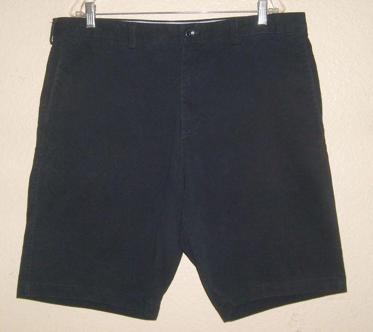 Mens 38 BANANA REPUBLIC Flat Front Khaki Cotton Chino Bermuda Golf Shorts Navy