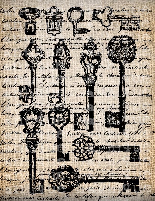 Antique Key Keys Skeleton French Handwriting Fancy Frame Digital Download for Papercrafts,