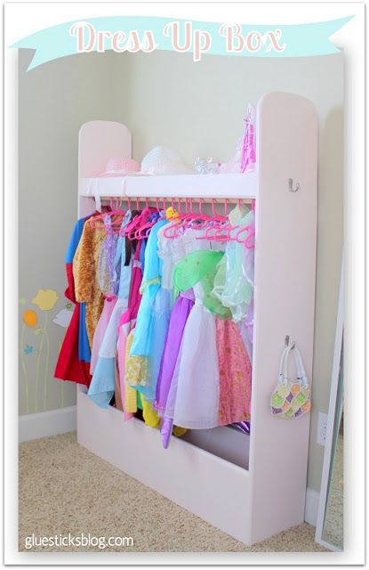 Dress Up Box with storage area for shoes on the bottom as well as a shelf on the top for tiaras, etc.