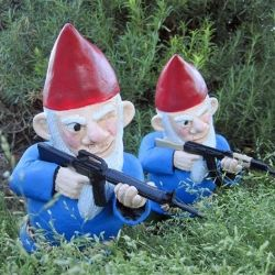 Combat Garden Gnomes are the perfect accessory for any home's front lawn.: Idea, Yard, Stuff, Garden Gnomes, Funny, Combat Lawn, Gardens, Lawn Gnomes, Combat Garden