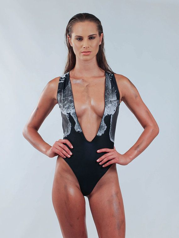 Angel Black Deep V Swimsuit by PANK