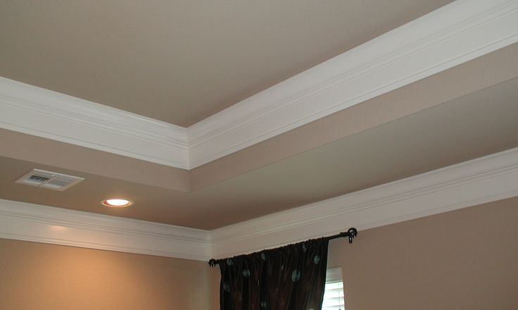 painted tray ceiling with crown molding | tray ceiling | Bedroom